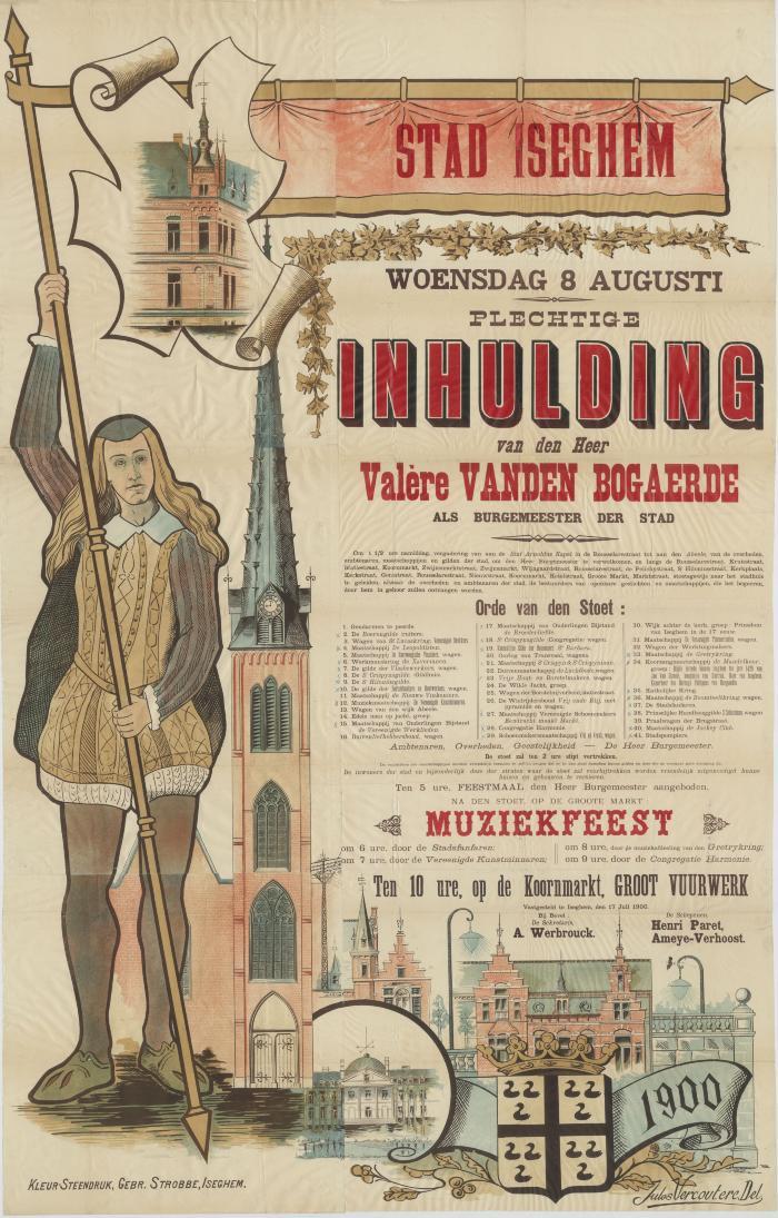 Affiche muziekfeest, Izegem, 8 augustus 1900
