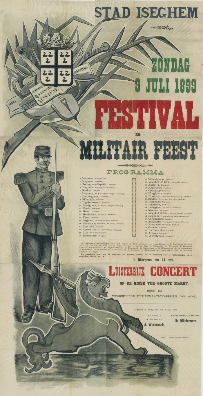 Affiche militair feest, Izegem, 9 juli 1899