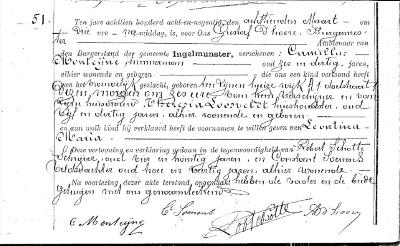 Geboorteakte van Léontine Monteyne, 1898
