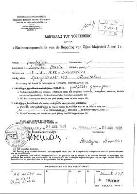 Aanvraag tot herinneringsmedaille van politiek gevangene tijdens WOI, 1969