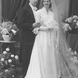 Huwelijksfoto mijnheer en mevrouw Fernande Grillet
