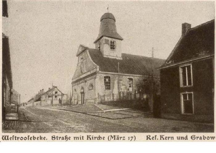 Kerk en straat Westrozebeke, maart 1917