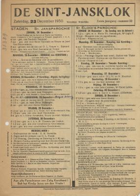 De Sint-Jansklok, Staden, 23 december 1950