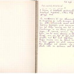 Schriftje met recepten, ca 1970
