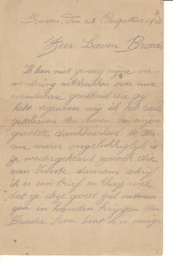 Brief van Eugène Corneillie aan Leon Corneillie, 1918