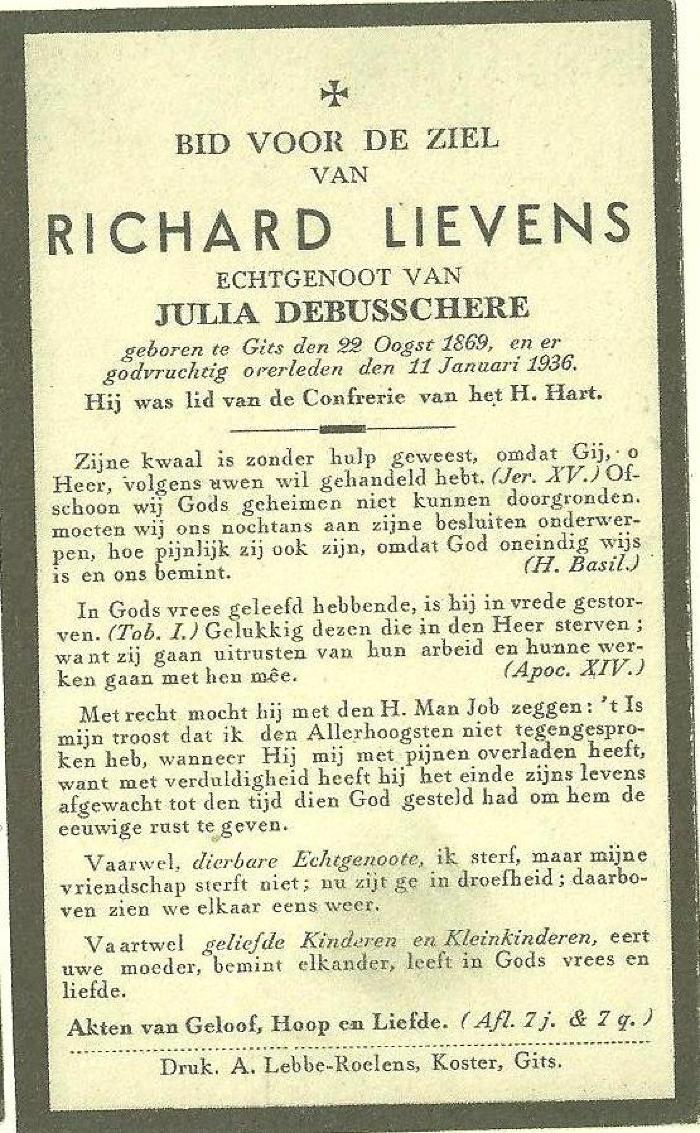 Bidprentje Richard Lievens
