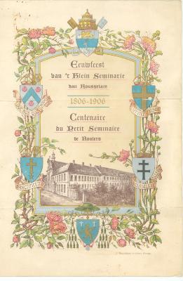 Menukaart Klein Seminarie, 1906