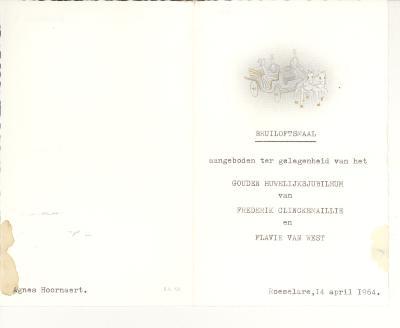 Menukaart Huwelijksjubileum, 1964