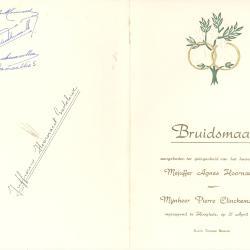 Menukaart Huwelijk, 1954