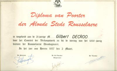 Diploma van Poorter, 1957