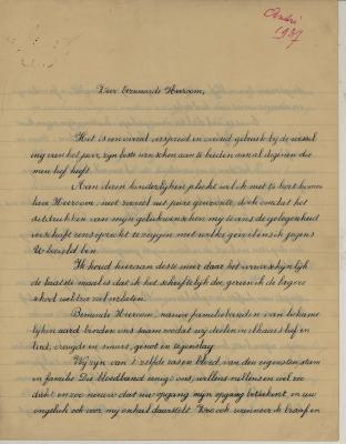 Nieuwjaarbrief van André Hoornaert, Hooglede, 1 januari 1937