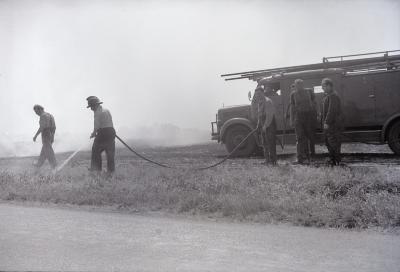 Brand in stoppelveld, Moorslede augustus 1973