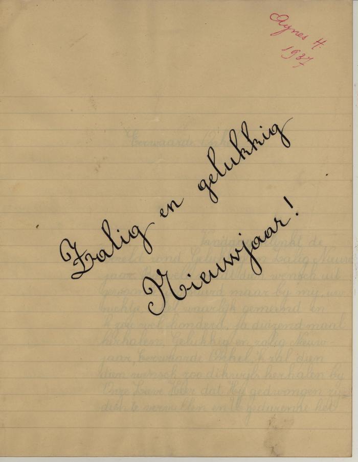 Nieuwjaarsbrief van Agnes Hoornaert, Hooglede, 1 januari 1937
