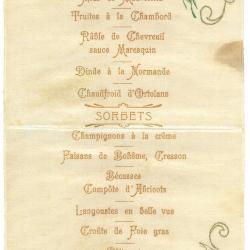 Franstalige menukaart, 1905
