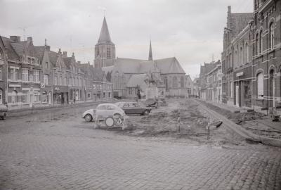 Vernieuwing marktplaats, Moorslede maart 1973