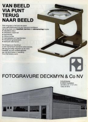 Publiciteit van Deckmyn, Roeselare, +/- 1985