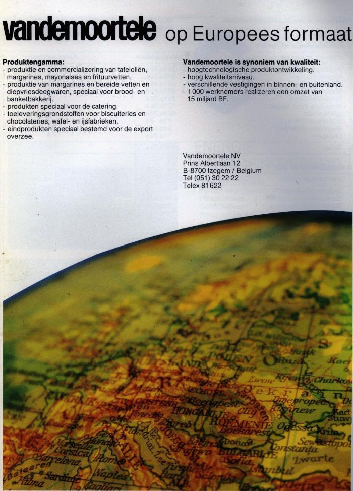 Publiciteit van Vandemoortele, Izegem, +/- 1985