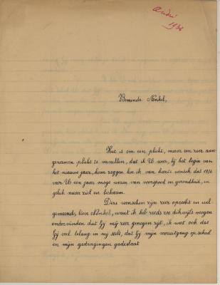 Nieuwjaarsbrief van André Hoornaert aan zijn oom, 1 januari 1936.