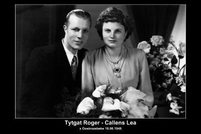 Huwelijksfoto van Roger Andreas Tytgat met Lea Elisabeth Camila Callens in 1948.