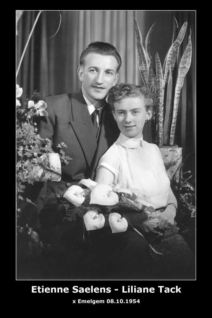 SAELENS Etienne Maurice en TACK Liliana Maria, Emelgem, 1954