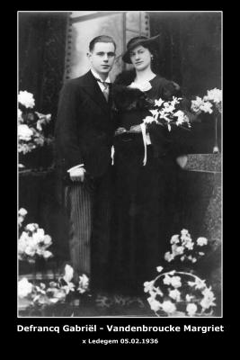 DEFRANCQ Gabriël en VANDENBROUCKE Margriet,  Ledegem, 1936