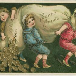 Beeldzijde nieuwjaarskaart, kinderen torsen zak muntstukken