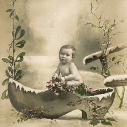 Beeldzijde nieuwjaarskaart, baby in klomp