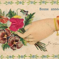 Beeldzijde nieuwjaarskaart, hand biedt boeket aan