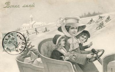 Beeldzijde nieuwjaarskaart, dame met kinderen in auto, 1912