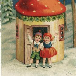 Beeldzijde nieuwjaarskaart, kinderen voor paddenstoelenhuisje