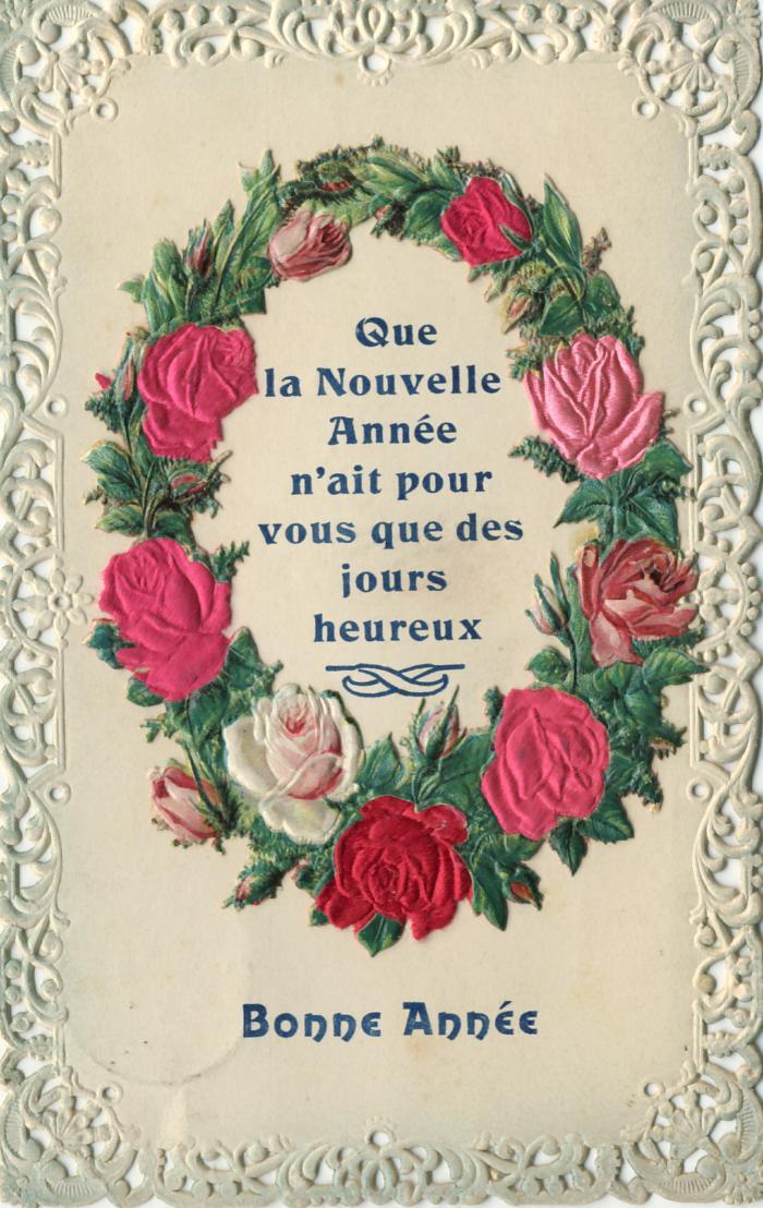 Post- en beeldzijde nieuwjaarskaart, bloemen van echte zijde, 1909