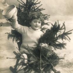 Beeldzijde kerstkaart, kindje op slede met sparren, 1910