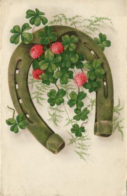 Beeldzijde kerst- en nieuwjaarskaart, hoefijzer met klavertjes