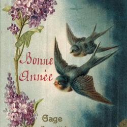 Beeldzijde nieuwjaarskaart, twee vliegende zwaluwen