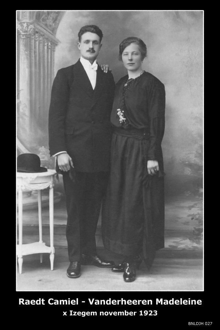 Raedt Camiel en Vanderheeren Madeleine , Izegem, 1923