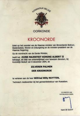 Oorkonde verleend aan Wilfried Nuytten, Roeselare, 2004