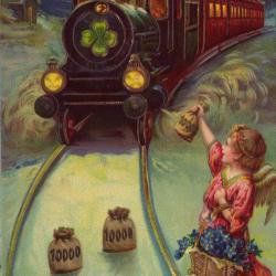 Beeldzijde nieuwjaarskaart, trein en geld