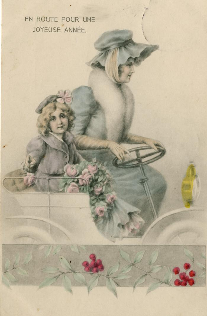 Beeldzijde nieuwjaarskaart, vrouw met kind in auto
