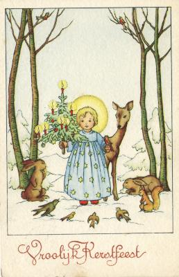 Beeldzijde kerstkaart, engel met kerstboom tussen dieren