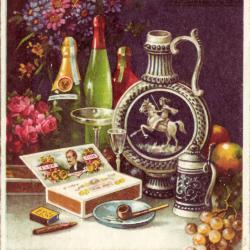 Beeldzijde nieuwjaarskaart, stilleven rookartikelen, alcohol, fruit, bloemen, 1937