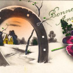Beeld- en postzijde nieuwjaarskaart, hoefijzer in sneeuwlandschap, 1935