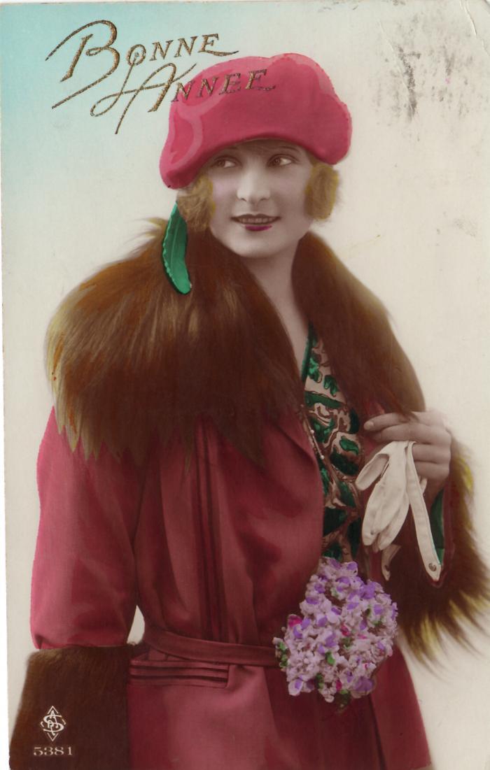 Beeldzijde nieuwjaarskaart, dame met rode hoed