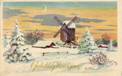 Beeldzijde nieuwjaarskaart, sneeuwlandschap met molen, 1946