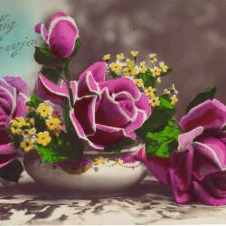 Beeldzijde nieuwjaarskaart, stilleven met bloemen, 1930