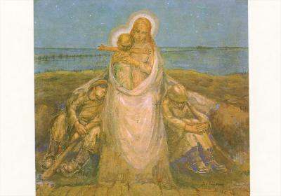 Beeldzijde kerst- en nieuwjaarskaart, Maria met Jezus aan het front