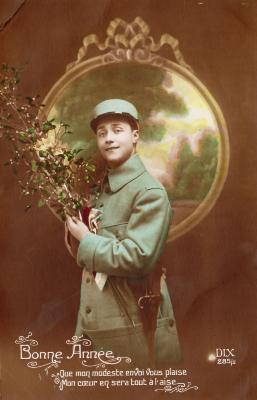 Beeld- en postzijde nieuwjaarskaart, soldaat met maretak, 1915