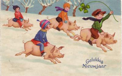Beeldzijde nieuwjaarskaart, kinderen op varkentjes, 1932