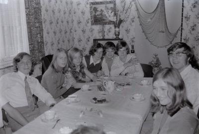 Verjaardagsfeest Jeannine (dochter Agnes Noppe), Moorslede 1969