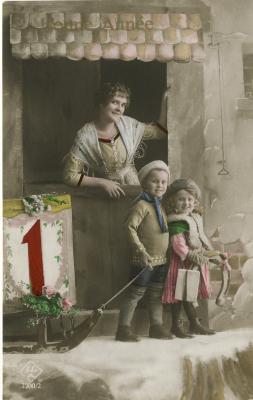 Beeldzijde nieuwjaarskaart, moeder met twee kinderen