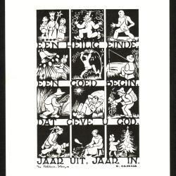 Beeldzijde nieuwjaarskaart, tekening seizoenen, 1952